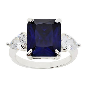 Sparkle Allure Cubic Zirconia Pure Silver Over Brass Montana Rectangular Cocktail Ring