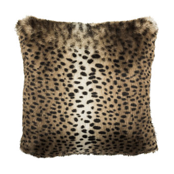 Safavieh Leopard Black Brown Square Throw Pillow