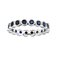 Personally Stackable Lab-Created Blue Sapphire Sterling Silver Eternity Ring