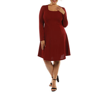 24/7 Comfort Apparel Temptress A-Line Dress-Plus