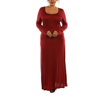 24/7 Comfort Apparel-Plus Scoop Neck Maxi Dress