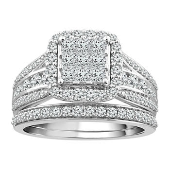 Womens 1 1/2 CT. T.W. Genuine White Diamond 10K White Gold Bridal Set