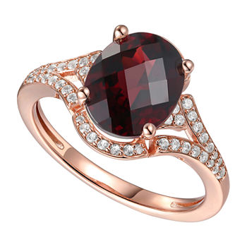 Womens Genuine Brown Garnet 14K Rose Gold Over Silver Halo Cocktail Ring
