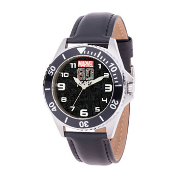 Marvel Marvel Mens Black Leather Strap Watch-Wma000350