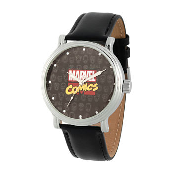 Marvel Captain America Mens Black Leather Strap Watch-Wma000356