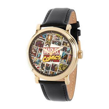 Marvel Marvel Mens Black Leather Strap Watch-Wma000358