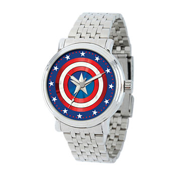 Marvel Captain America Mens Silver Tone Stainless Steel Bracelet Watch - Wma000361