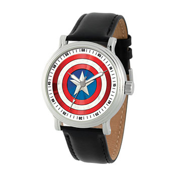 Marvel Captain America Mens Black Leather Strap Watch-Wma000362