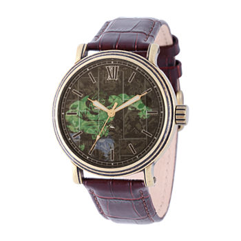 Marvel Hulk Mens Brown Leather Strap Watch-Wma000365