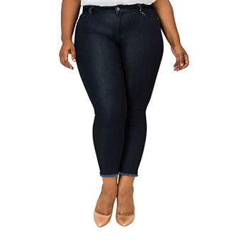 Poetic Justice - Plus Womens Mid Rise 529 Mid Belly Slim Stretch Cropped Jean
