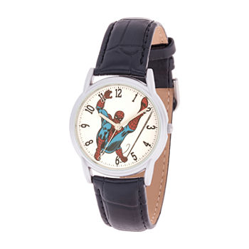 Marvel Marvel Mens Black Leather Strap Watch-Wma000401
