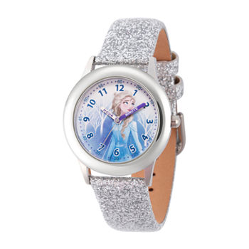 Disney Girls White Leather Strap Watch-Wds000798