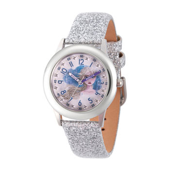 Disney Girls White Leather Strap Watch-Wds000799
