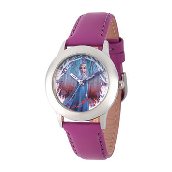 Disney Girls Purple Leather Strap Watch-Wds000805