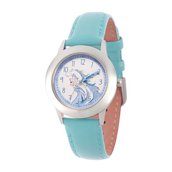 Disney Girls Blue Leather Strap Watch-Wds000809