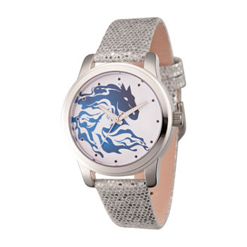 Disney Womens Silver Tone Leather Strap Watch-Wds000831