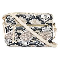 Faux Snake Zip Crossbody Bag