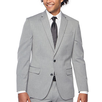 JF J.Ferrar 360 Stretch Light Gray Texture Mens Slim Fit Suit Jacket