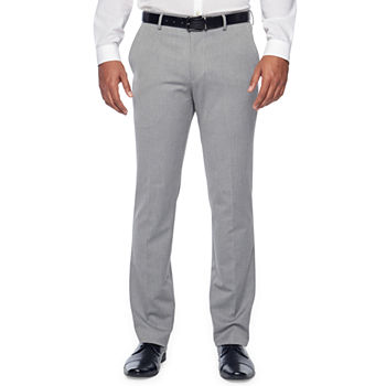 JF J.Ferrar 360 Stretch Light Gray Texture Mens Slim Fit Suit Pants