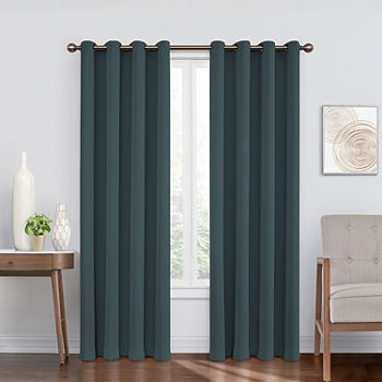 Eclipse Round And Round Woven Blackout Grommet-Top Single Curtain Panel