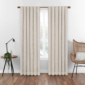 Eclipse Nora Geometric Embroidery Blackout Back-Tab Single Curtain Panel