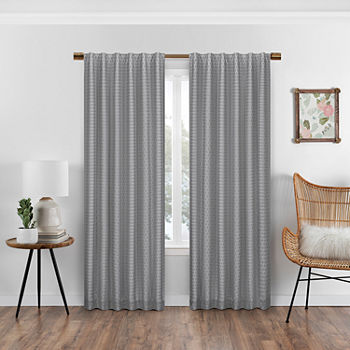Eclipse Nora Crochet Blackout Back-Tab Single Curtain Panel