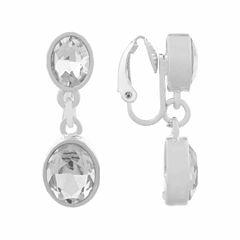 Liz Claiborne SilverTone Drop Clip On Earrings