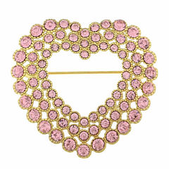 Monet Jewelry Pink And Goldtone Open Heart Pin
