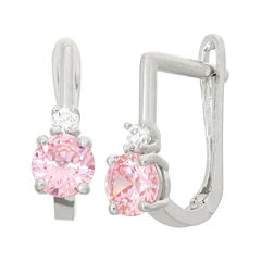 Pink Cubic Zirconia Sterling Silver Drop Earrings