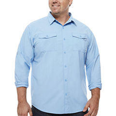 Columbia Long Sleeve Plaid Button-Front Shirt-Big and Tall