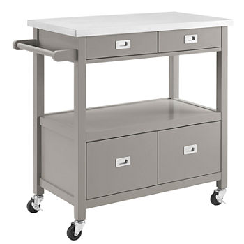 Sydney Stainless Steel-Top Kitchen Cart