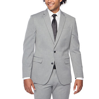 JF J.Ferrar 360 Stretch Light Gray Texture Mens Super Slim Fit Suit Jacket