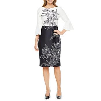 Liz Claiborne 34 Bell Sleeve Floral Sheath Dress