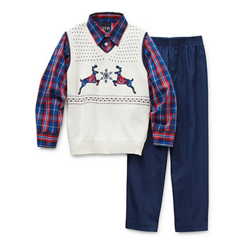 TFW Sweater Vest Little Boys 3-pc. Pant Set