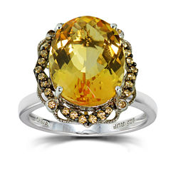 Womens Orange Citrine Sterling Silver Halo Ring