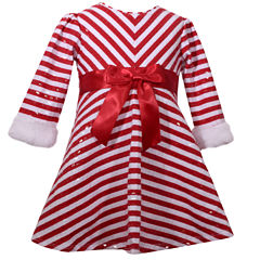 Bonnie Jean Long Sleeve Candy Cane Santa Stripe Dress Dress - Baby Girls