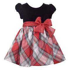 Bonnie Jean Short Sleeve Velvet To Plaid Bow FrontDress - Baby Girls