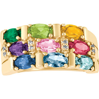 Artcarved Celebrations Of Life 9M Genuine Multi Color Stone 10K Gold Band