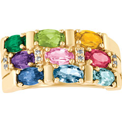 Celebrations Of Life Womens Genuine Multi Color Multi Stone 14K Gold Band