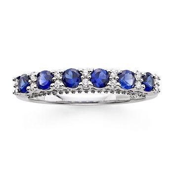 I Said Yes™ 1/7 CT. T.W. Diamond and Lab-Created Blue Sapphire 9mm Wedding Band