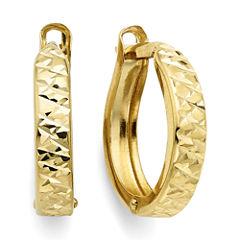 Diamond-Cut 14K Yellow Gold 12.35mm Hinged Hoop Earrings