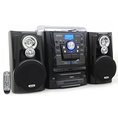 Jensen JMC-1250 Bluetooth 3-Speed Stereo Turntable Music System with 3-CD Changer
