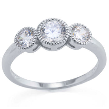 Silver Treasures Sterling Silver Cubic Zirconia Ring