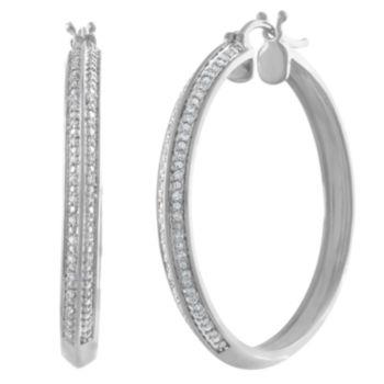 Fine Jewelry 1/2 CT. T.W. Genuine White Diamond Sterling Silver 28.2mm Hoop Earrings