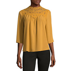Self Esteem Long Sleeve Mock Neck Chiffon Blouse-Juniors