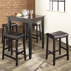 5-pc. Pub Dining Set With Tapered Leg and Upholstered Saddle Stools