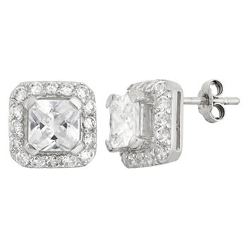 DiamonArt® 4 CT. T.W. White Cubic Zirconia Sterling Silver 10mm Square Stud Earrings