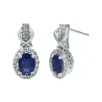 sapphire white studs earrings in stud gold with saphire akoya blue winterson pearls