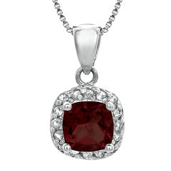 Cushion-Cut Genuine Garnet and White Topaz Sterling Silver Pendant Necklace