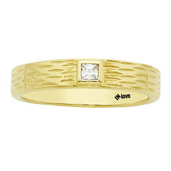 IN Love 1/10 CT. T.W. Diamond 14K Yellow Gold Princess-Cut Textured Wedding Band